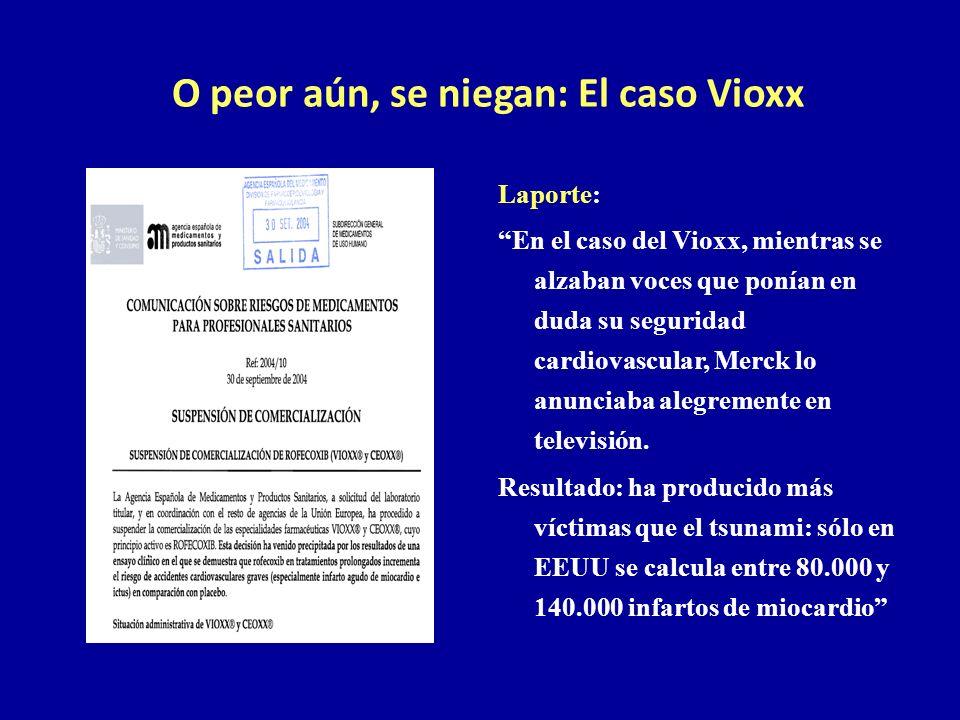 O peor aún, se niegan: El caso Vioxx Laporte: En el caso del Vioxx, mientras se alzaban voces que ponían en duda su seguridad cardiovascular, Merck lo