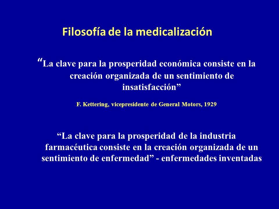 Filosofía de la medicalización La clave para la prosperidad económica consiste en la creación organizada de un sentimiento de insatisfacción F. Ketter