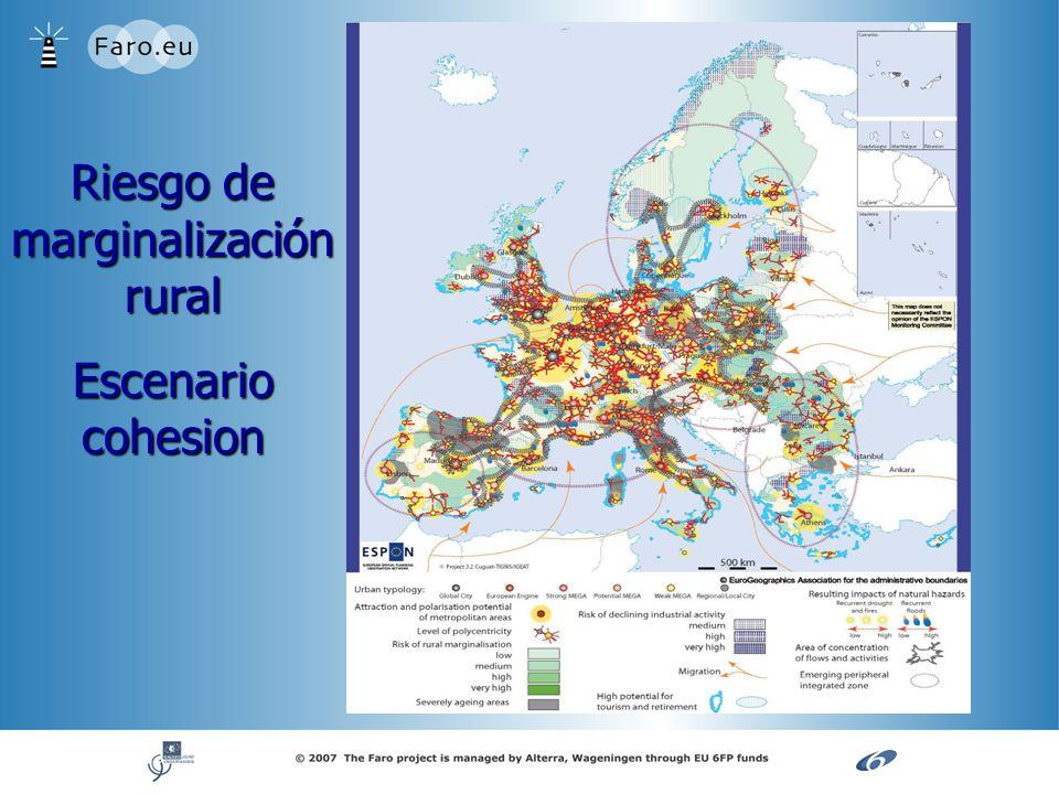 Riesgo de marginalización rural Escenario cohesion