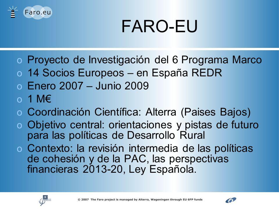 o o Proyecto de Investigación del 6 Programa Marco o o 14 Socios Europeos – en España REDR o o Enero 2007 – Junio 2009 o o 1 M o o Coordinación Cientí