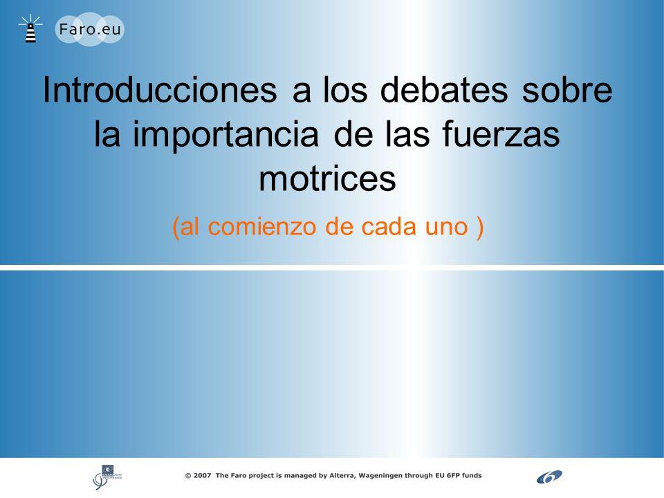 Introducciones a los debates sobre la importancia de las fuerzas motrices (al comienzo de cada uno )
