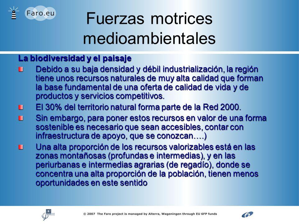 Fuerzas motrices medioambientales La biodiversidad y el paisaje Debido a su baja densidad y débil industrialización, la región tiene unos recursos nat