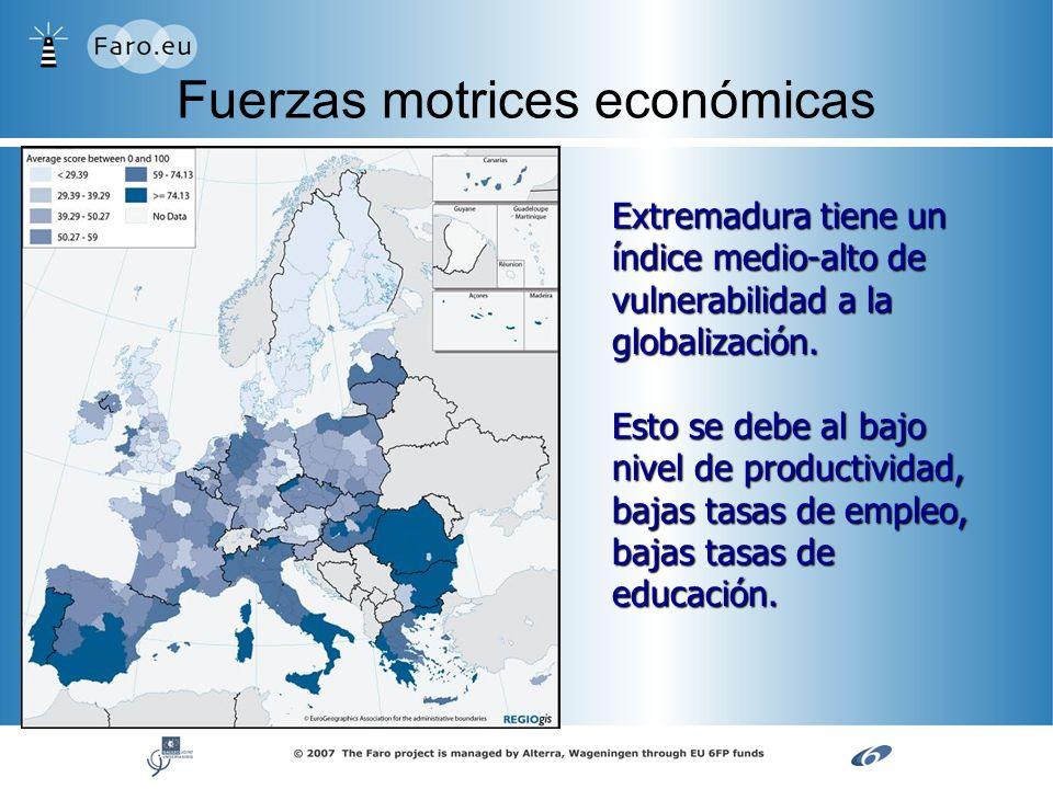 Fuerzas motrices económicas Extremadura tiene un índice medio-alto de vulnerabilidad a la globalización. Esto se debe al bajo nivel de productividad,