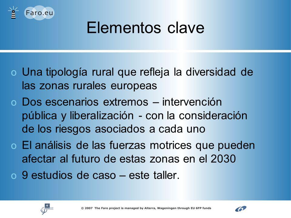 Elementos clave o o Una tipología rural que refleja la diversidad de las zonas rurales europeas o o Dos escenarios extremos – intervención pública y l