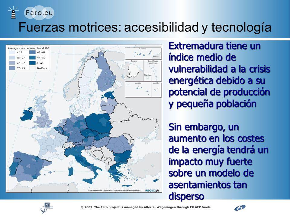 Fuerzas motrices: accesibilidad y tecnología Extremadura tiene un índice medio de vulnerabilidad a la crisis energética debido a su potencial de produ