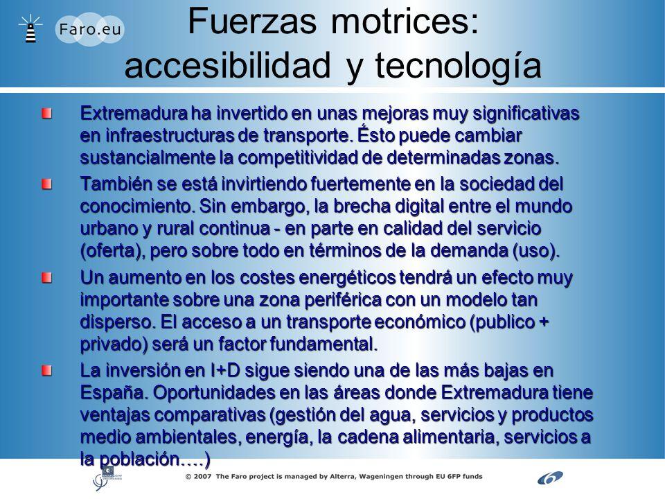 Fuerzas motrices: accesibilidad y tecnología Extremadura ha invertido en unas mejoras muy significativas en infraestructuras de transporte. Ésto puede