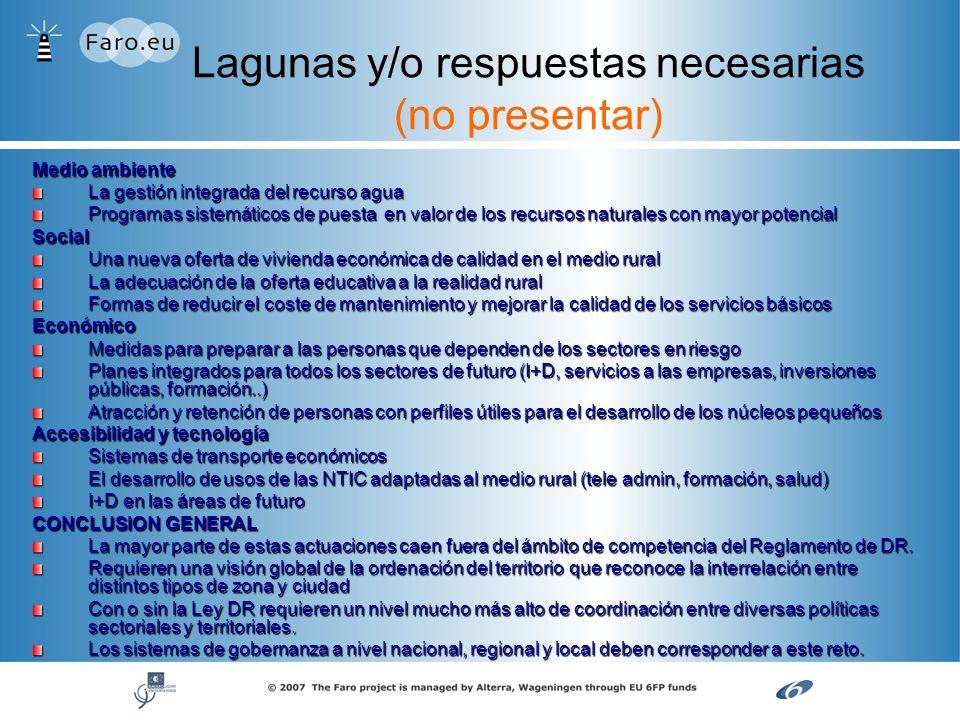 Lagunas y/o respuestas necesarias (no presentar) Medio ambiente La gestión integrada del recurso agua Programas sistemáticos de puesta en valor de los