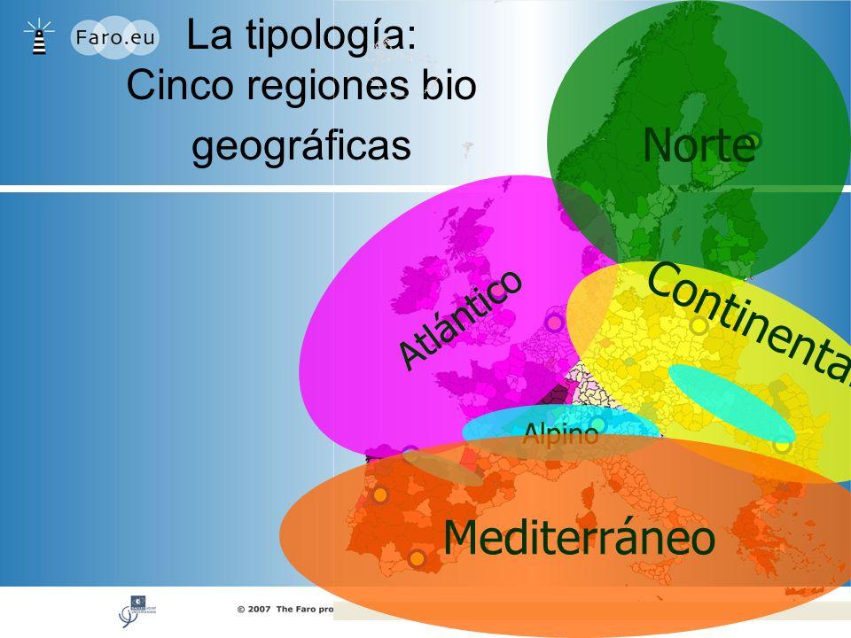 La tipología: Cinco regiones bio geográficas Atlántico Norte Continental Alpino Mediterráneo