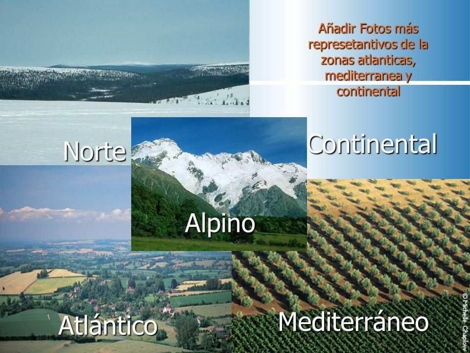 Norte Continental Mediterráneo Añadir Fotos más represetantivos de la zonas atlanticas, mediterranea y continental Mediterráneo Alpino Atlántico