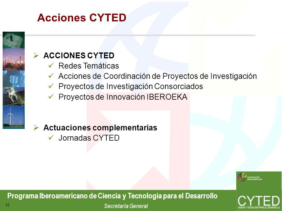 Programa Iberoamericano de Ciencia y Tecnología para el Desarrollo Secretaría General 12 Acciones CYTED ACCIONES CYTED Redes Temáticas Acciones de Coo