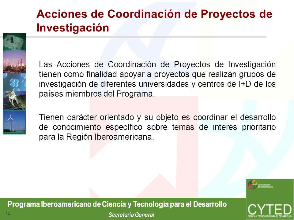 Programa Iberoamericano de Ciencia y Tecnología para el Desarrollo Secretaría General 14 Acciones de Coordinación de Proyectos de Investigación Las Ac
