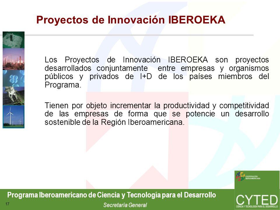 Programa Iberoamericano de Ciencia y Tecnología para el Desarrollo Secretaría General 17 Proyectos de Innovación IBEROEKA Los Proyectos de Innovación