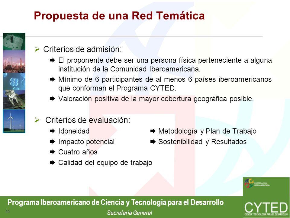 Programa Iberoamericano de Ciencia y Tecnología para el Desarrollo Secretaría General 20 Propuesta de una Red Temática Criterios de admisión: El propo