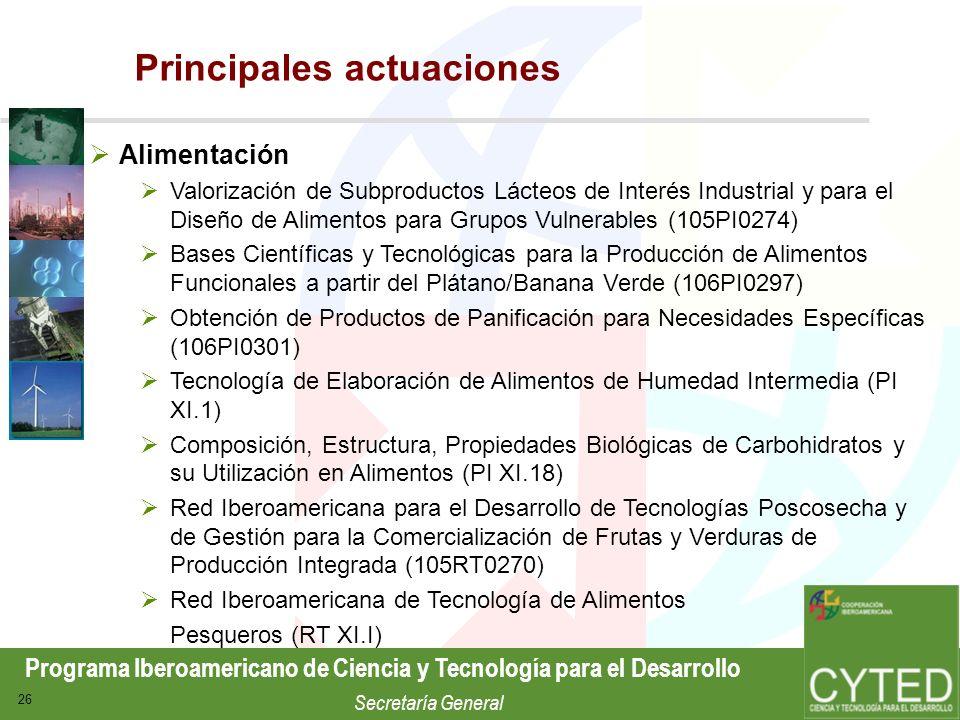 Programa Iberoamericano de Ciencia y Tecnología para el Desarrollo Secretaría General 26 Alimentación Valorización de Subproductos Lácteos de Interés