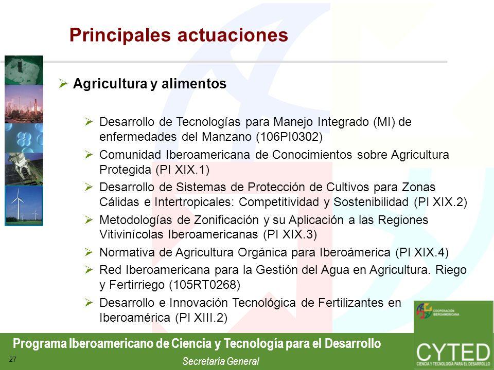 Programa Iberoamericano de Ciencia y Tecnología para el Desarrollo Secretaría General 27 Agricultura y alimentos Desarrollo de Tecnologías para Manejo