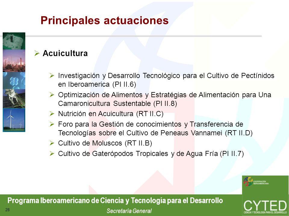 Programa Iberoamericano de Ciencia y Tecnología para el Desarrollo Secretaría General 28 Acuicultura Investigación y Desarrollo Tecnológico para el Cu