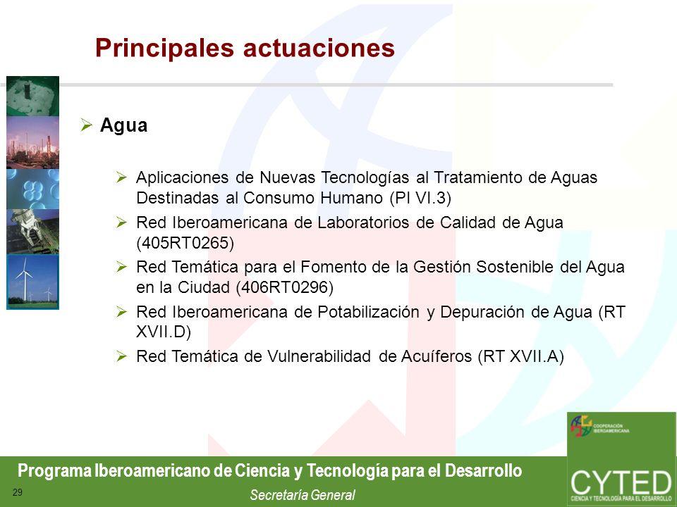 Programa Iberoamericano de Ciencia y Tecnología para el Desarrollo Secretaría General 29 Agua Aplicaciones de Nuevas Tecnologías al Tratamiento de Agu