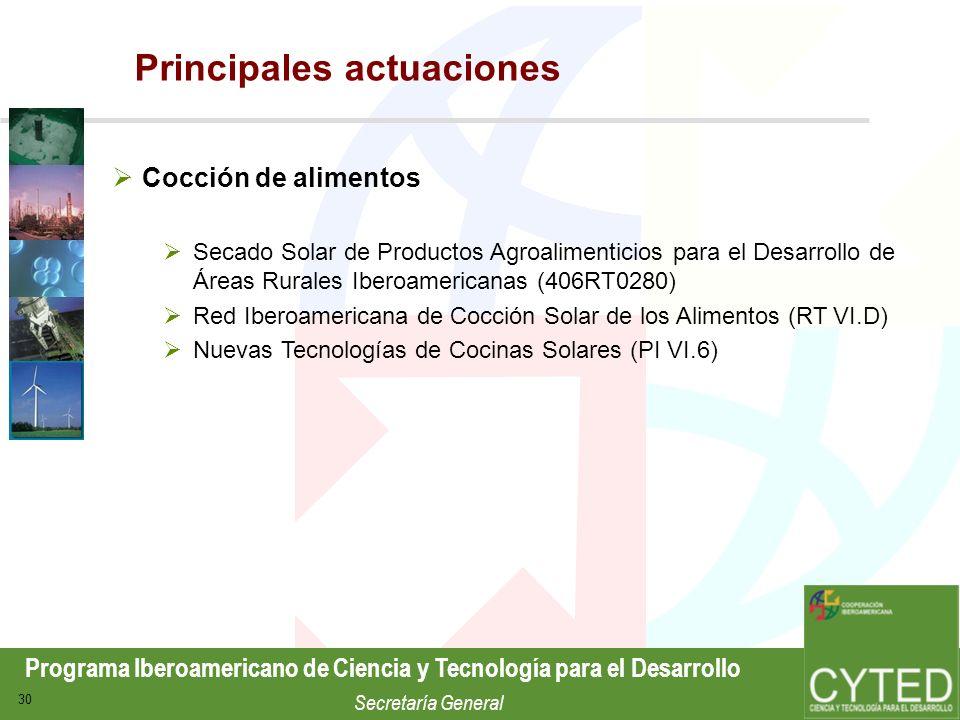 Programa Iberoamericano de Ciencia y Tecnología para el Desarrollo Secretaría General 30 Cocción de alimentos Secado Solar de Productos Agroalimentici