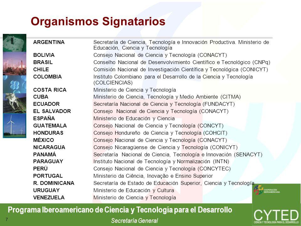 Programa Iberoamericano de Ciencia y Tecnología para el Desarrollo Secretaría General 7 Organismos Signatarios ARGENTINASecretaría de Ciencia, Tecnolo