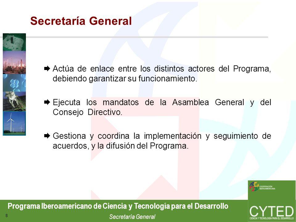 Programa Iberoamericano de Ciencia y Tecnología para el Desarrollo Secretaría General 29 Agua Aplicaciones de Nuevas Tecnologías al Tratamiento de Aguas Destinadas al Consumo Humano (PI VI.3) Red Iberoamericana de Laboratorios de Calidad de Agua (405RT0265) Red Temática para el Fomento de la Gestión Sostenible del Agua en la Ciudad (406RT0296) Red Iberoamericana de Potabilización y Depuración de Agua (RT XVII.D) Red Temática de Vulnerabilidad de Acuíferos (RT XVII.A) Principales actuaciones
