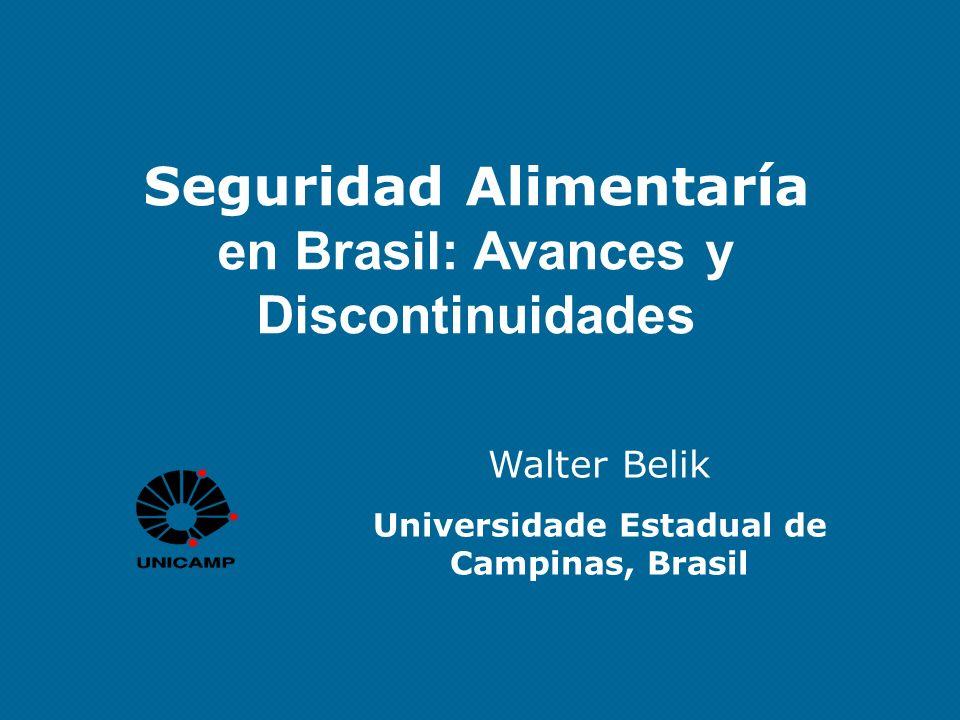 Seguridad Alimentaría en Brasil: Avances y Discontinuidades Walter Belik Universidade Estadual de Campinas, Brasil