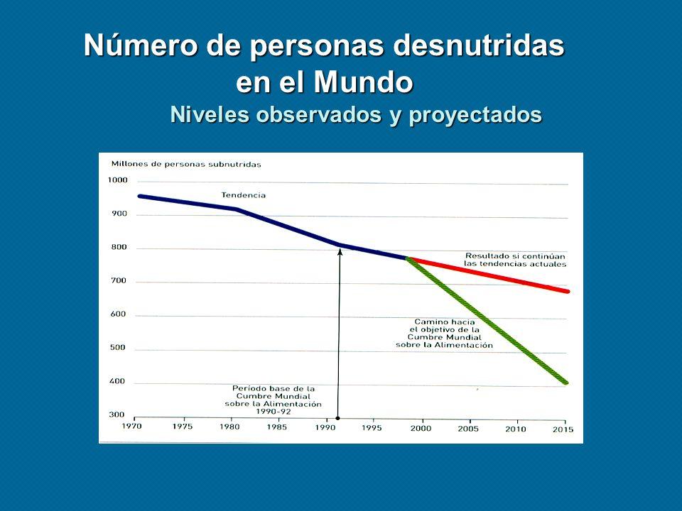 Número de personas desnutridas en el Mundo Niveles observados y proyectados
