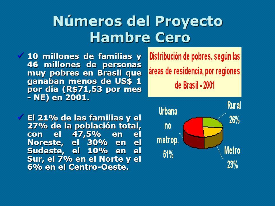 Números del Proyecto Hambre Cero 10 millones de familias y 46 millones de personas muy pobres en Brasil que ganaban menos de US$ 1 por día (R$71,53 po