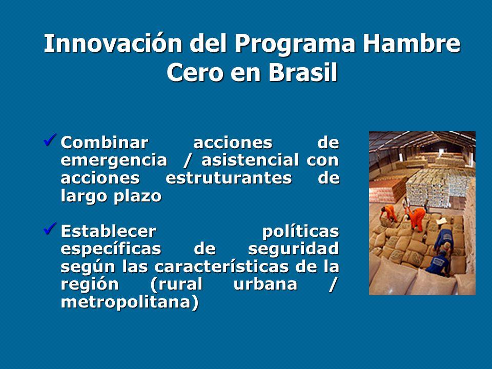 Innovación del Programa Hambre Cero en Brasil Combinar acciones de emergencia / asistencial con acciones estruturantes de largo plazo Combinar accione