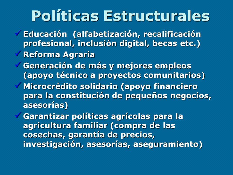 Políticas Estructurales Educación (alfabetización, recalificación profesional, inclusión digital, becas etc.) Educación (alfabetización, recalificació
