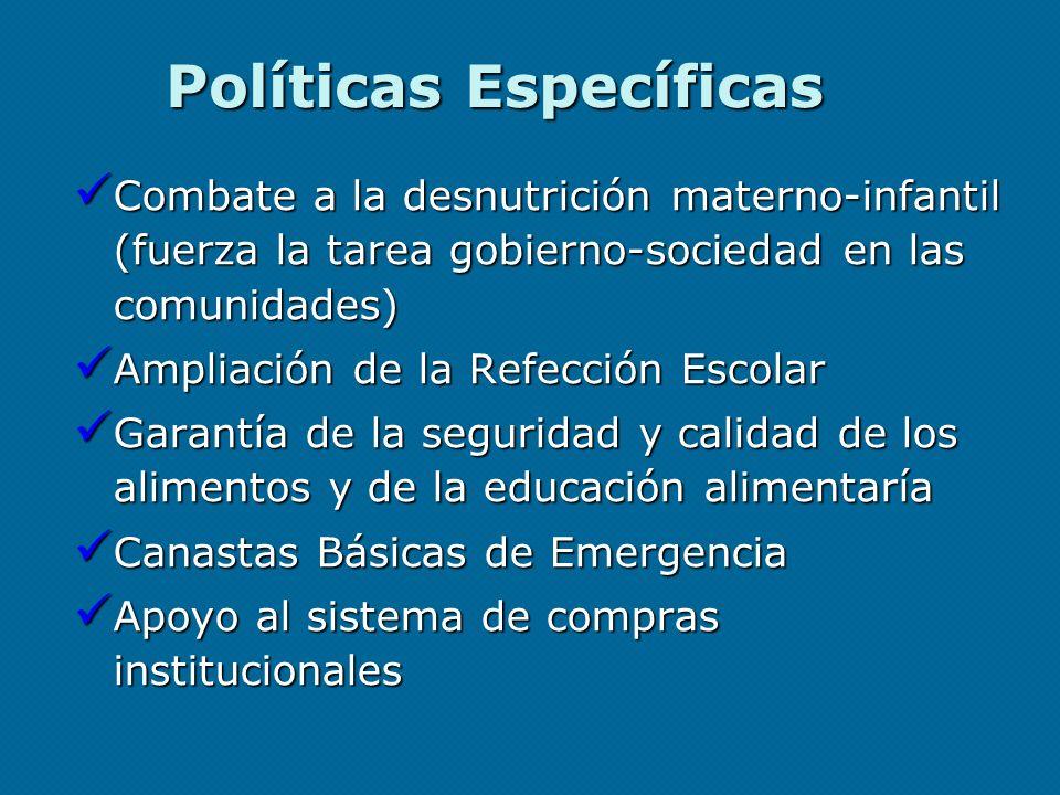 Políticas Específicas Combate a la desnutrición materno-infantil (fuerza la tarea gobierno-sociedad en las comunidades) Combate a la desnutrición mate