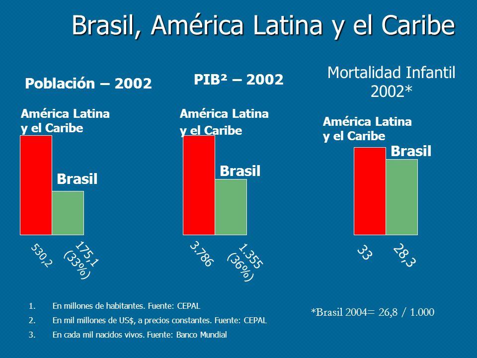 Brasil, América Latina y el Caribe PIB² – 2002 Población – 2002 Mortalidad Infantil 2002* 530,2 175,1 (33%) 3.786 1.355 (36%) 33 28,3 1.En millones de