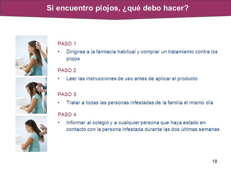 18 PASO 1 Dirigirse a la farmacia habitual y comprar un tratamiento contra los piojos PASO 2 Leer las instrucciones de uso antes de aplicar el product