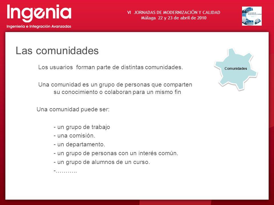 VI JORNADAS DE MODERNIZACI Ó N Y CALIDAD Málaga 22 y 23 de abril de 2010 Las comunidades Los usuarios forman parte de distintas comunidades. Una comun