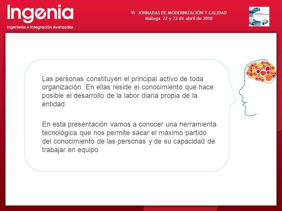 VI JORNADAS DE MODERNIZACI Ó N Y CALIDAD Málaga 22 y 23 de abril de 2010 Las personas constituyen el principal activo de toda organización. En ellas r