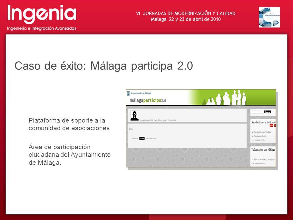 VI JORNADAS DE MODERNIZACI Ó N Y CALIDAD Málaga 22 y 23 de abril de 2010 Caso de éxito: Málaga participa 2.0 Plataforma de soporte a la comunidad de a