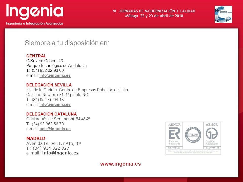 VI JORNADAS DE MODERNIZACI Ó N Y CALIDAD Málaga 22 y 23 de abril de 2010 www.ingenia.es Siempre a tu disposición en: CENTRAL C/Severo Ochoa, 43. Parqu