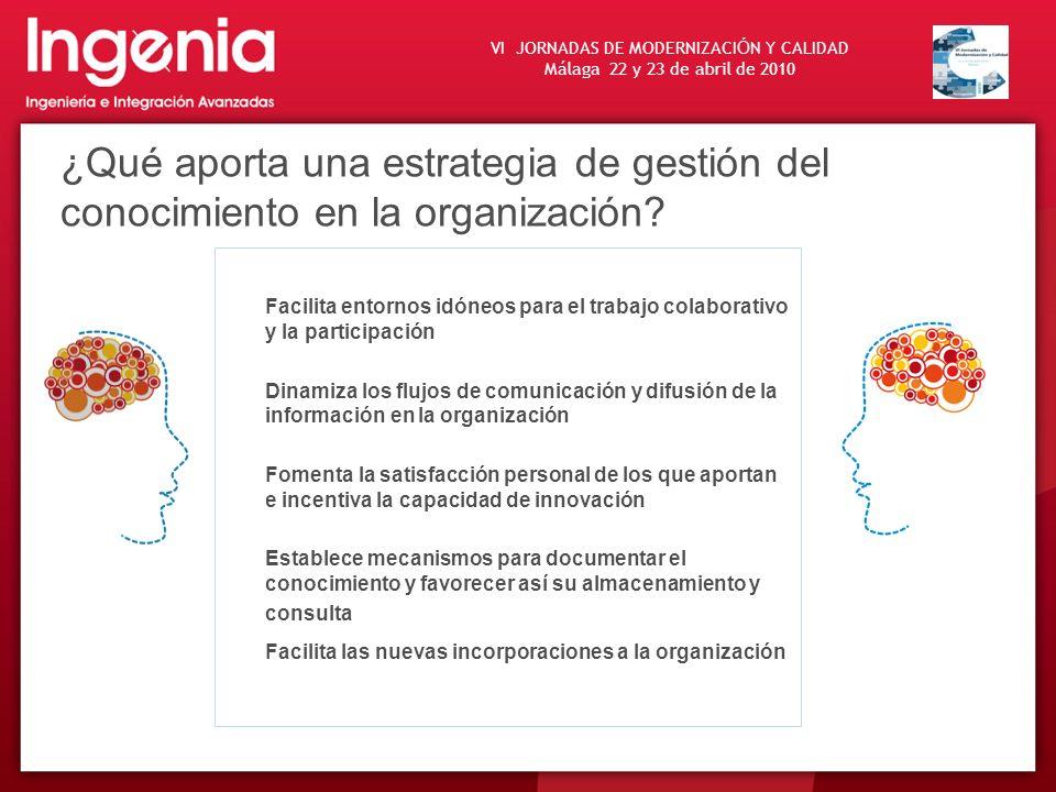 VI JORNADAS DE MODERNIZACI Ó N Y CALIDAD Málaga 22 y 23 de abril de 2010 ¿Qué aporta una estrategia de gestión del conocimiento en la organización? Fa