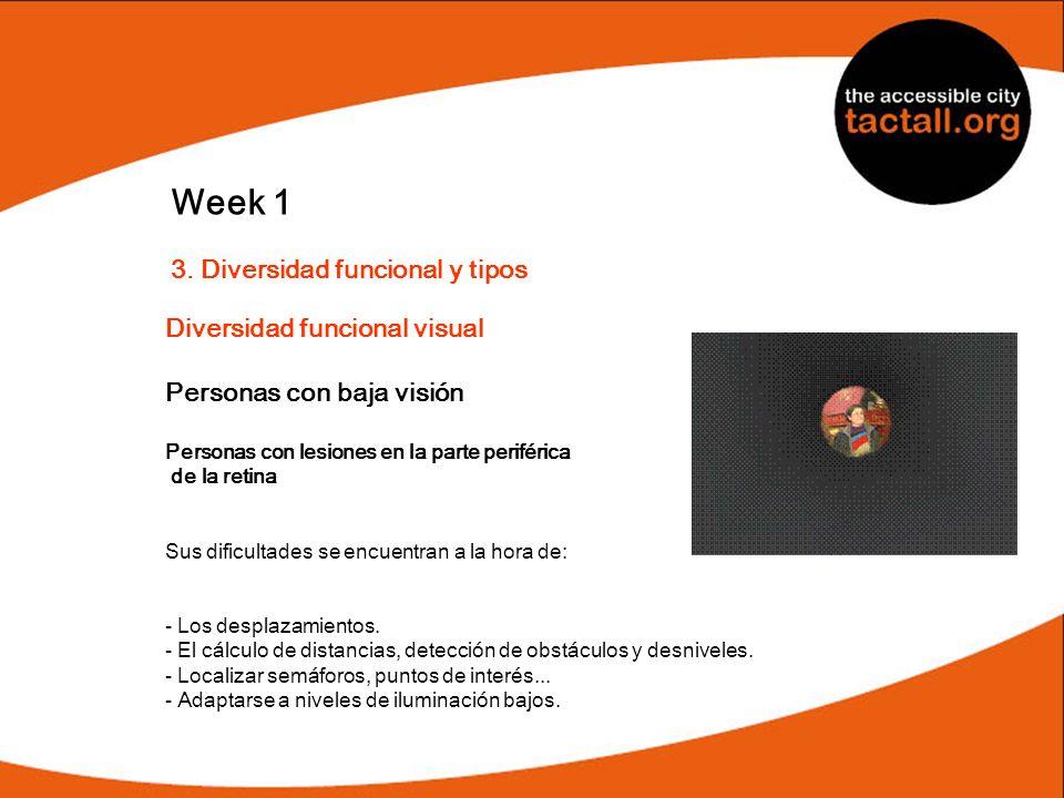 Week 1 3. Diversidad funcional y tipos Diversidad funcional visual Personas con baja visión Personas con lesiones en la parte periférica de la retina