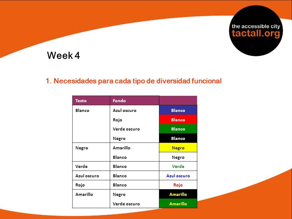 Week 4 1. Necesidades para cada tipo de diversidad funcional TextoFondo BlancoAzul oscuroBlanco RojoBlanco Verde oscuroBlanco NegroBlanco NegroAmarill