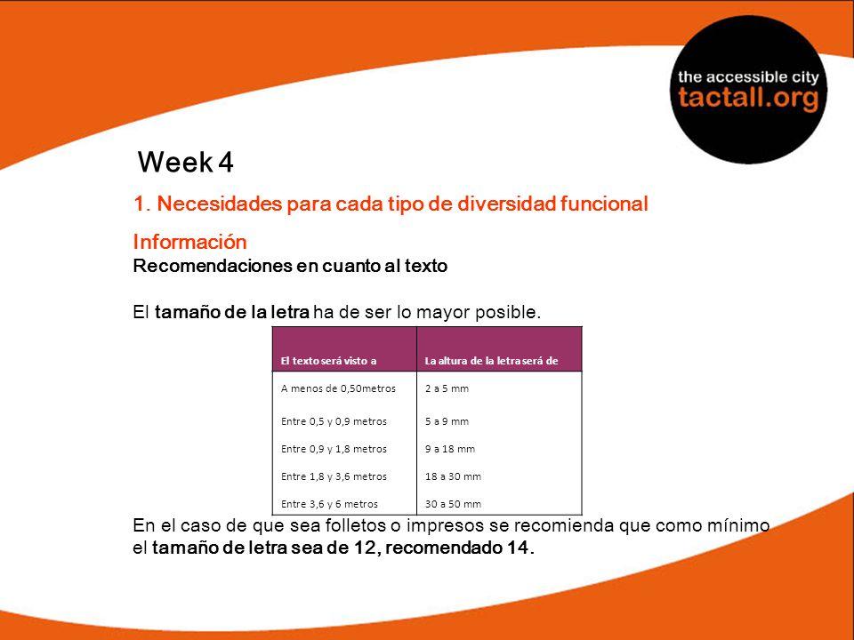 Week 4 1. Necesidades para cada tipo de diversidad funcional Información Recomendaciones en cuanto al texto El tamaño de la letra ha de ser lo mayor p