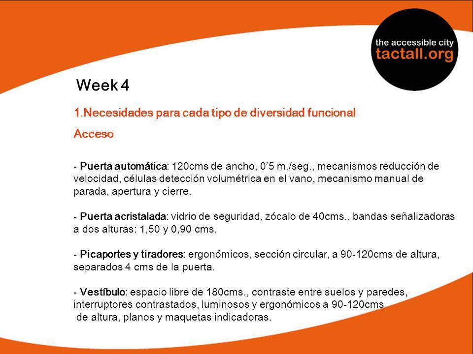 Week 4 1.Necesidades para cada tipo de diversidad funcional Acceso - Puerta automática: 120cms de ancho, 05 m./seg., mecanismos reducción de velocidad