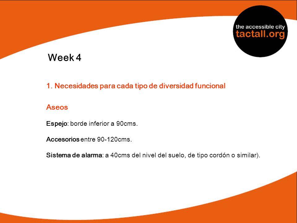 Week 4 1. Necesidades para cada tipo de diversidad funcional Aseos Espejo: borde inferior a 90cms. Accesorios entre 90-120cms. Sistema de alarma: a 40