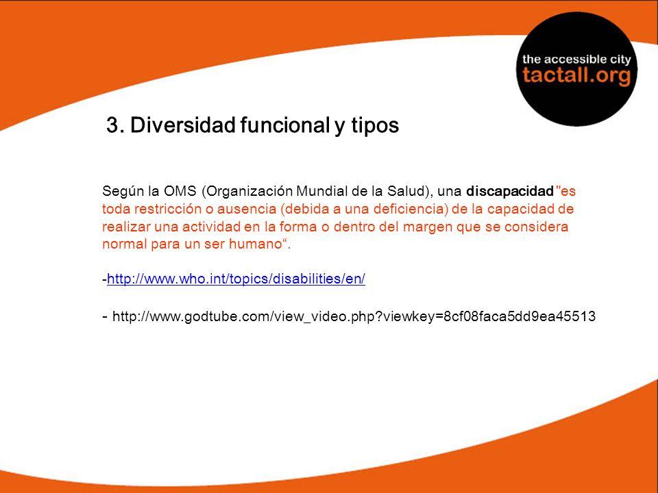 3. Diversidad funcional y tipos Según la OMS (Organización Mundial de la Salud), una discapacidad