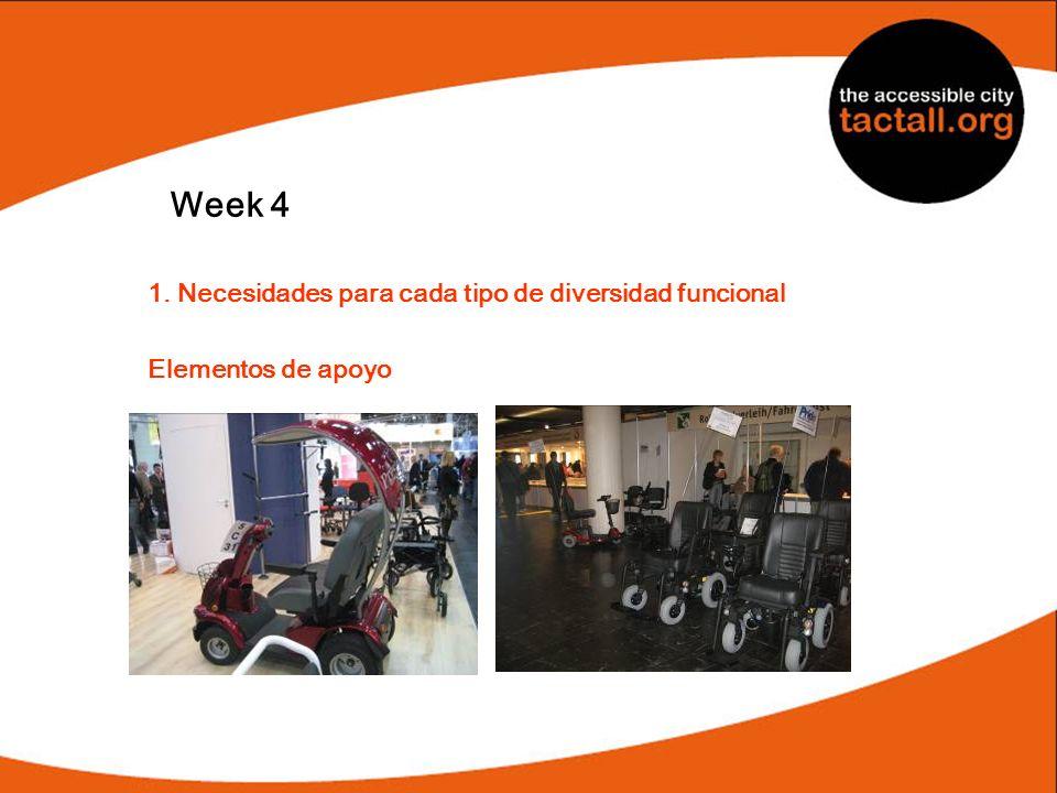 Week 4 1. Necesidades para cada tipo de diversidad funcional Elementos de apoyo