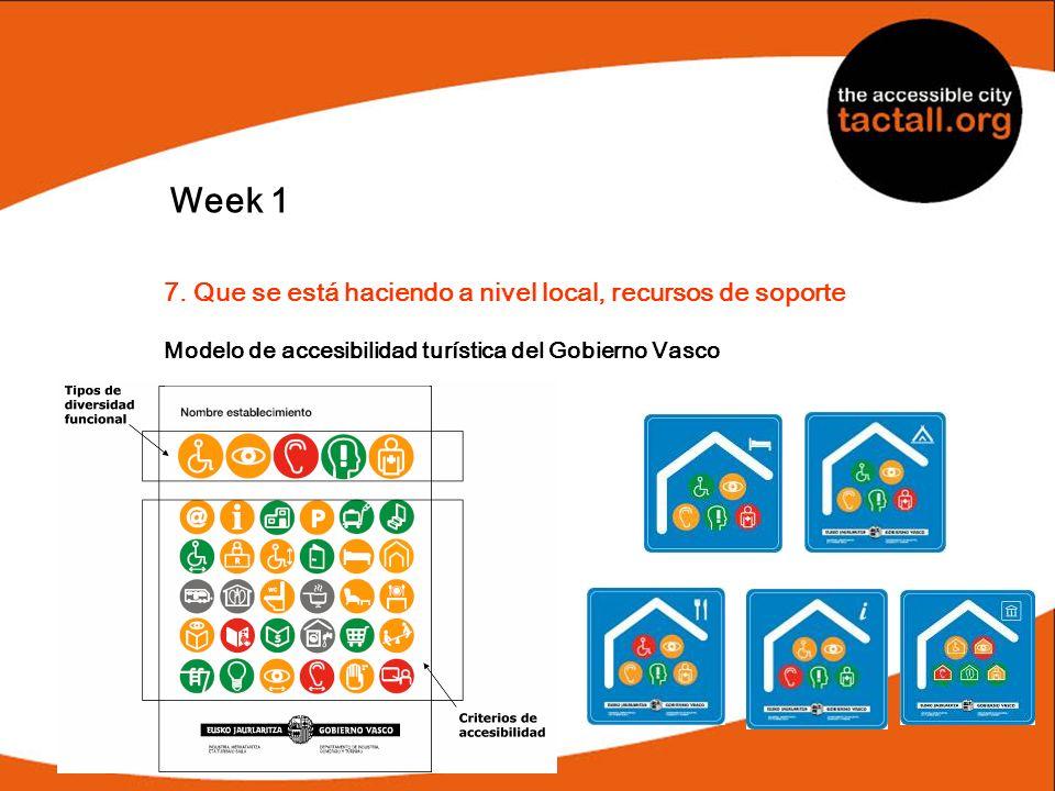 Week 1 7. Que se está haciendo a nivel local, recursos de soporte Modelo de accesibilidad turística del Gobierno Vasco