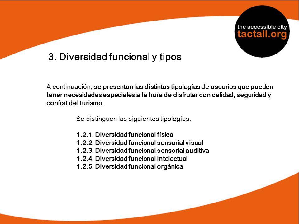 3. Diversidad funcional y tipos A continuación, se presentan las distintas tipologías de usuarios que pueden tener necesidades especiales a la hora de
