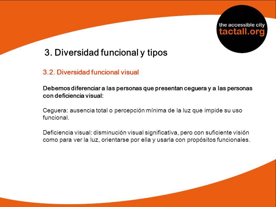 3. Diversidad funcional y tipos 3.2. Diversidad funcional visual Debemos diferenciar a las personas que presentan ceguera y a las personas con deficie