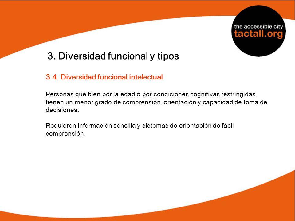 3. Diversidad funcional y tipos 3.4. Diversidad funcional intelectual Personas que bien por la edad o por condiciones cognitivas restringidas, tienen