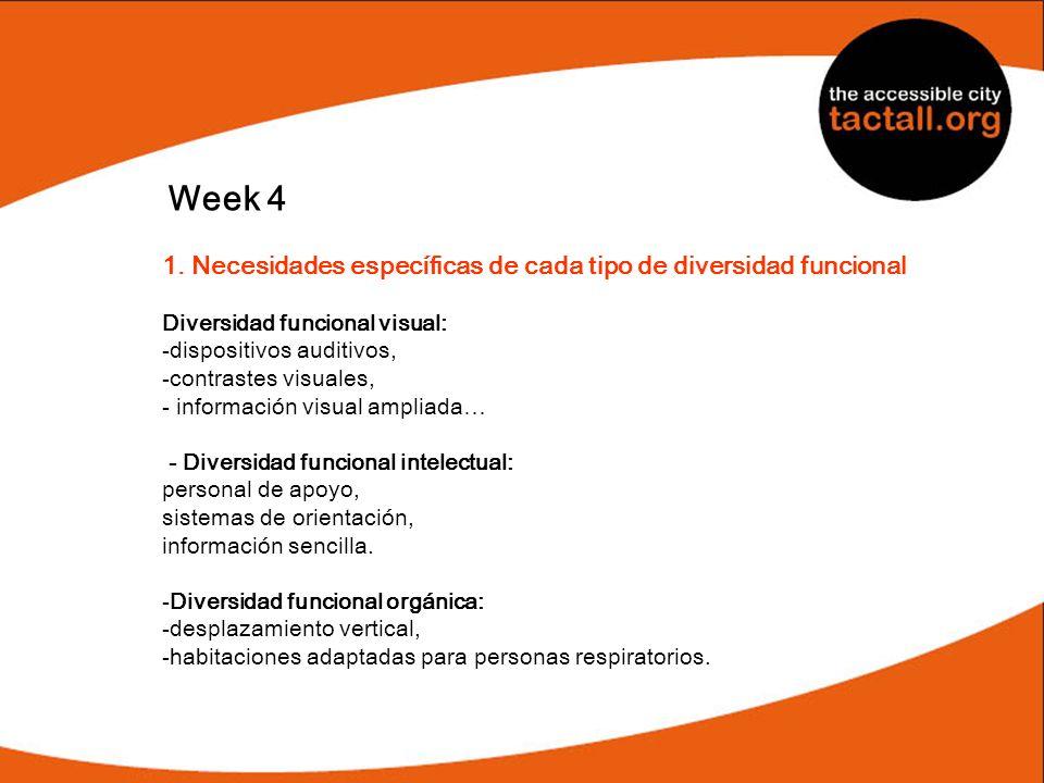 Week 4 1. Necesidades específicas de cada tipo de diversidad funcional Diversidad funcional visual: -dispositivos auditivos, -contrastes visuales, - i