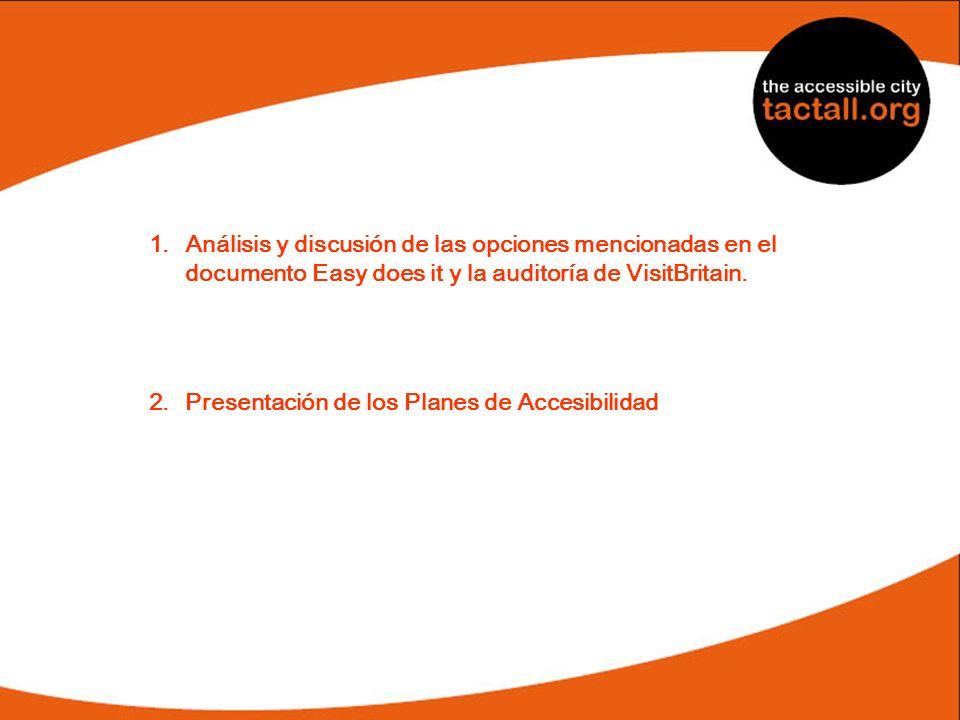 1.Análisis y discusión de las opciones mencionadas en el documento Easy does it y la auditoría de VisitBritain. 2.Presentación de los Planes de Accesi